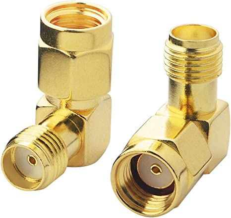 2-Pack Right Angle RP-SMA Female to SMA Male Gold Adapter Reverse Polarity