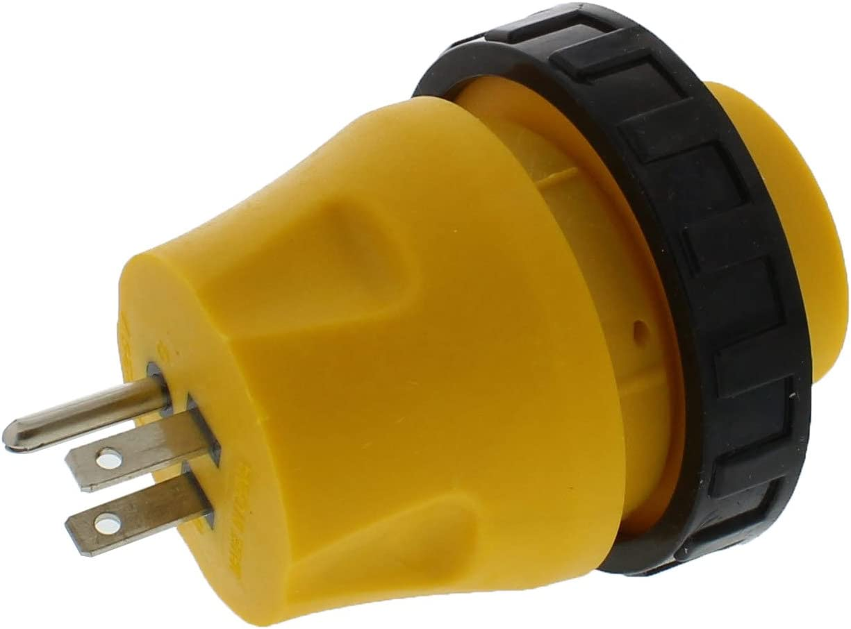 Male to Female RV 125V 15A-to-30A Electric Power Cord Adapter Round,Trailer