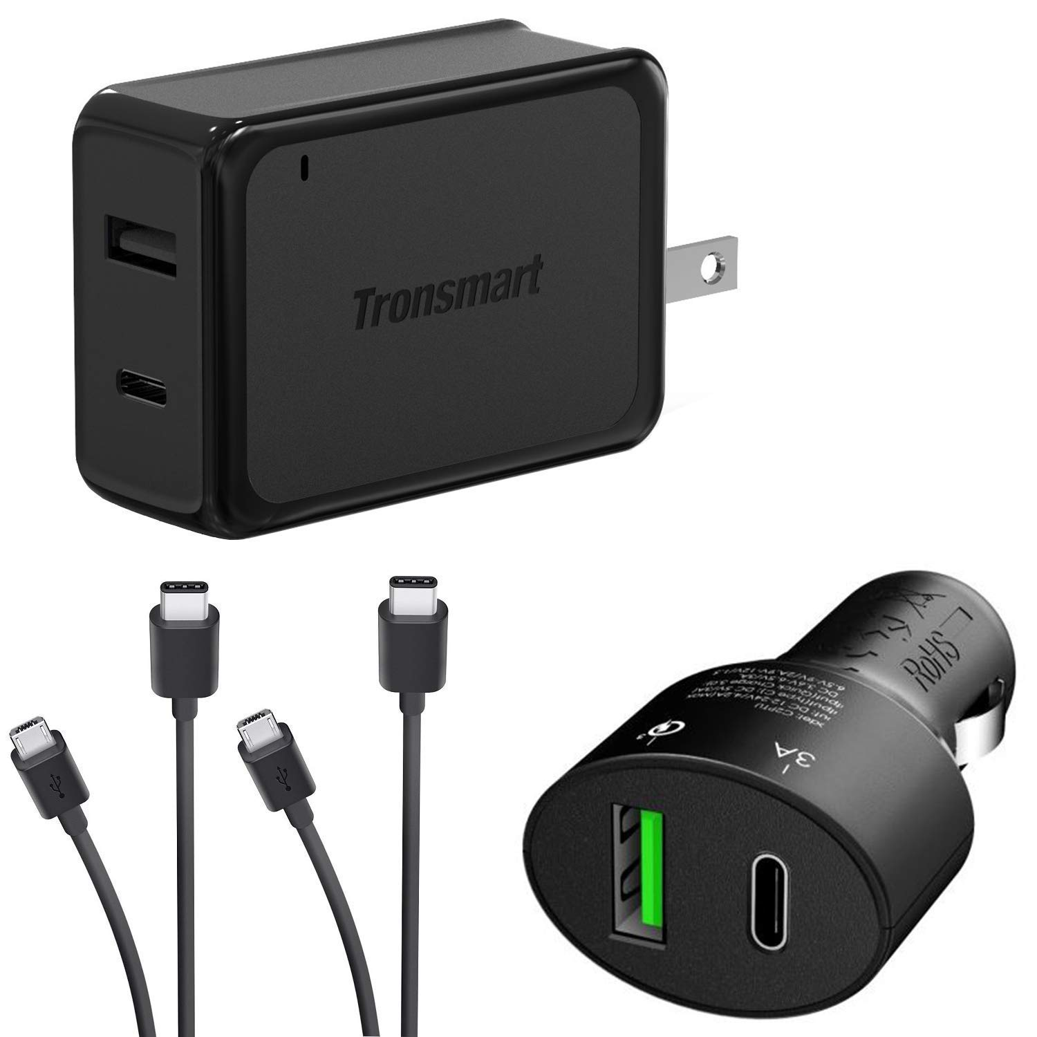Turbo Quick Wall and Car Charger Kit for Samsung Galaxy S10+ with MicroUSB & USB Type-C Cables! (33Watts)