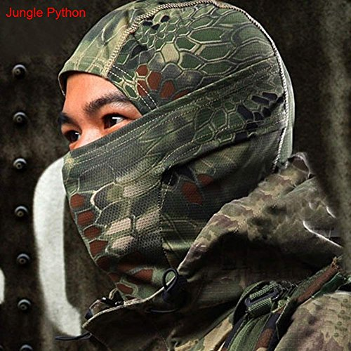 Camouflage Full Face Military Mask, GuanYuanGuang Balaclava & Motorcycle Helmet Liner Protective Gear, Windproof, Breathable for Outdoor Sports (Jungle Python )