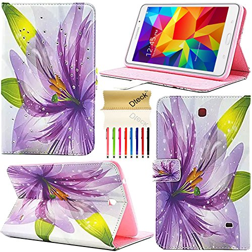 Tab 4 8.0 Case,T330 Case, Dteck(TM) Fashion Girls Bling Crystal Diamond Design PU Leather Flip Stand Case Cover for Samsung Galaxy Tab 4 8.0 SM-T330 Tablet (Lily Flower) (Case Tab Galaxy Iblason 4)