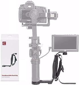 Zhiyun Mini Dual Grip, Transmount Single Handle Grip L Bracket Rig 1/4 Screw Connector for Zhiyun Crane 2 2S Plus Crane M V2 Series DJI Ronin-S SC Handheld Gimbal Stabilizer + EACHSHOT Cleaning Cloth