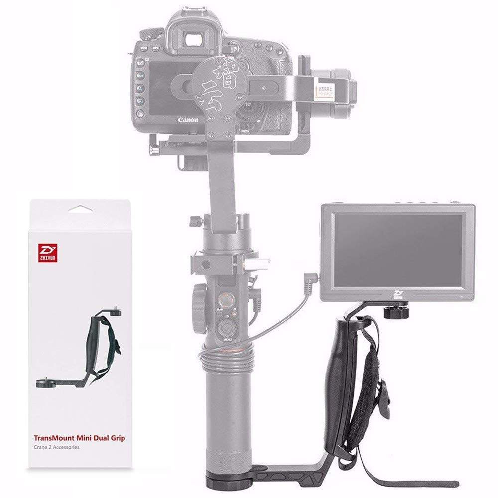 Zhiyun Mini Dual Grip, Transmount Single Handle Grip L Bracket Rig 1/4 Screw Connector for Zhiyun Crane 2 Crane Plus Crane M V2 Series DJI Ronin-S Handheld Gimbal Stabilizer w/EACHSHOT Cleaning Cloth