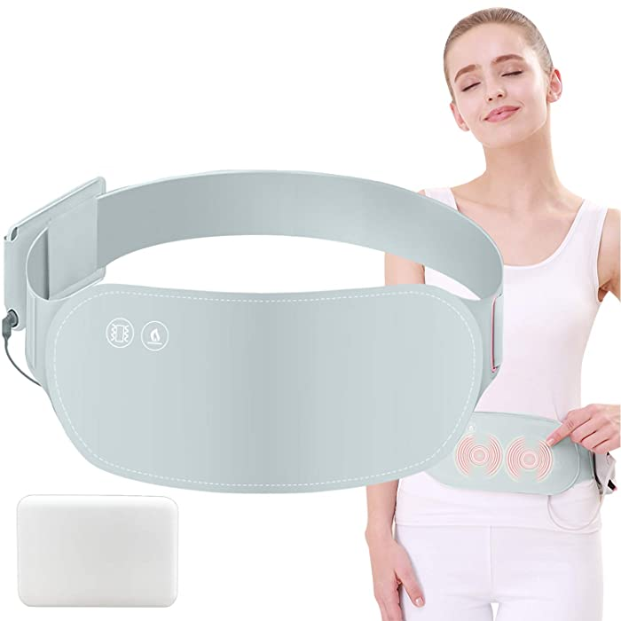 Portable Heating Pad for Menstrual Period Cramps, Electric USB Warming Belt Plus Massage for Back, Waist, Abdomen, Stomach, Neck, Shoulder Pain Relief (Grey-with Battery)