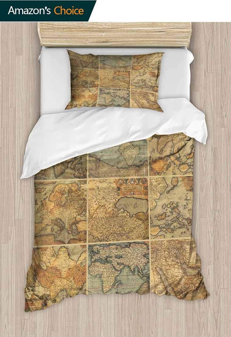 World Map Printed Quilt Cover and Pillowcase Set, Collage with Antique Old World Maps Vintage Ancient Collection of Civilization, Bedding Set Cover with 1 Pillow Shams Decorative Quilt Cover Set