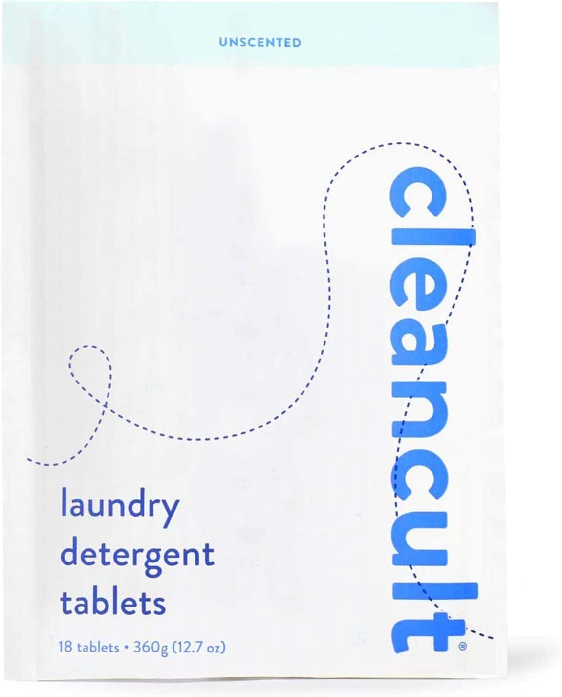 cleancult Laundry Detergent Tablet Refill | Biodegradable Eco Friendly Non Toxic Sensitive Skin Safe Natural Ingredients Reduced Waste Packaging, Unscented, 18 Count Refill Pouch