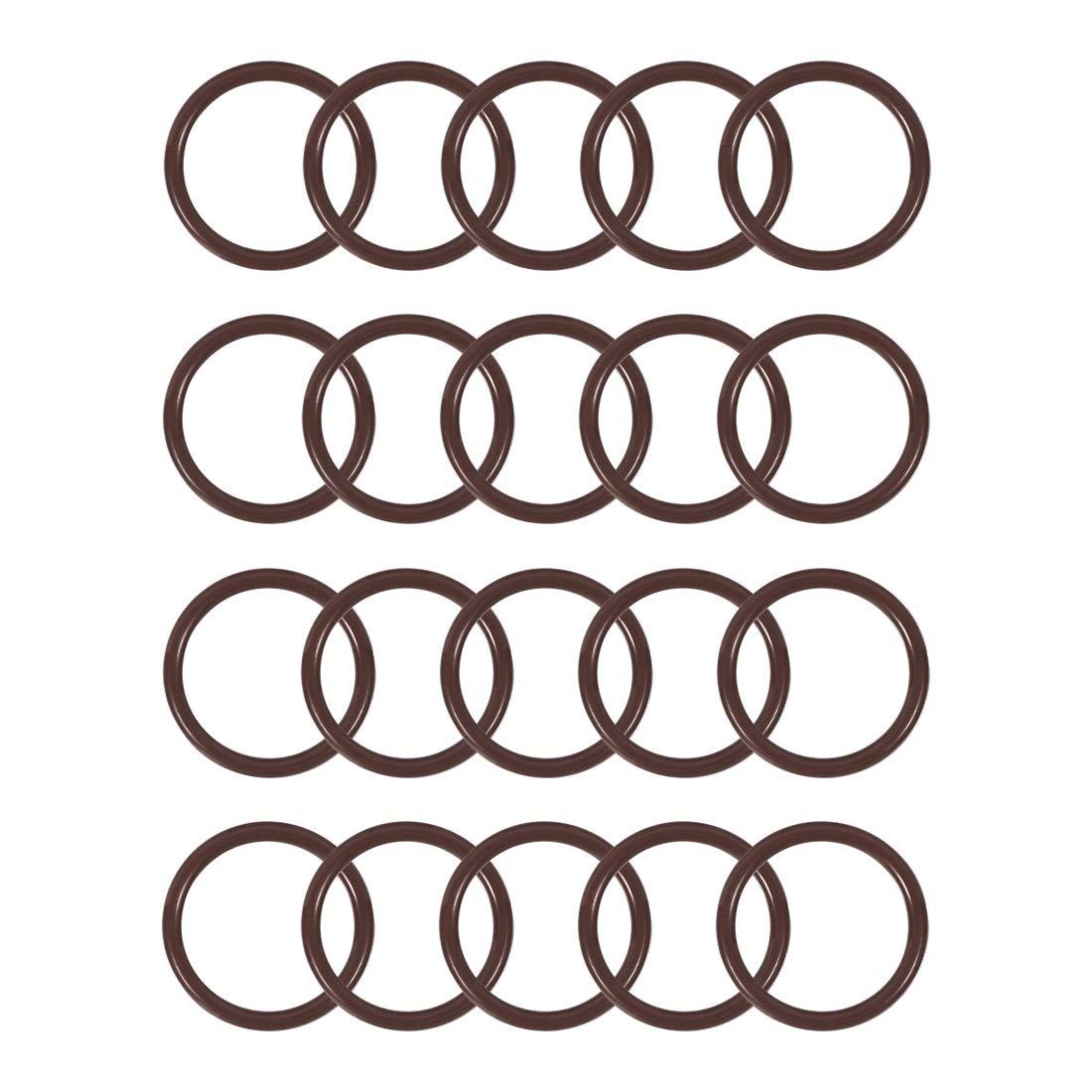 uxcell Fluorine Rubber O-Rings 25mm OD 20mm ID 2.5mm Width FKM Seal Gasket Brown 20pcs