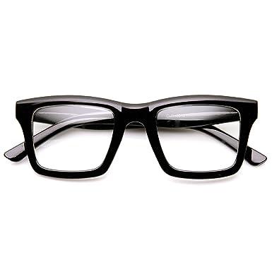 zerouv modern fashion dapper square bold frame clear lens glasses shiny black - Modern Glasses Frames