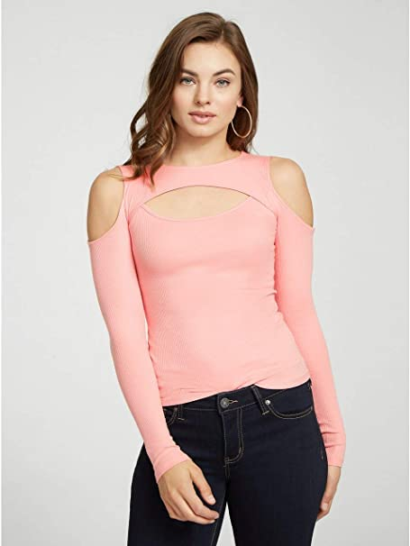 be577b7dc1673d G by GUESS Women s Britta Long-Sleeve Cold-Shoulder Cutout Top at Amazon  Women s Clothing store