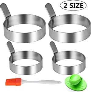 Stainless Steel Egg Frying Ring Mold Non Stick with Free Oven Glove and Silicone Brush (2 Sizes, 4 Packs)