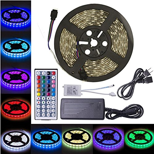 Flykul LED Strip Lights,16.4 Feet/5 Meters Led Light Strip, 5050 SMD 300 LEDs RGB LED Light Strip Kit Waterproof Flexible Strip Light With 44 Keys IR Remote Controller and DC 12V 5A Power Adapter ()
