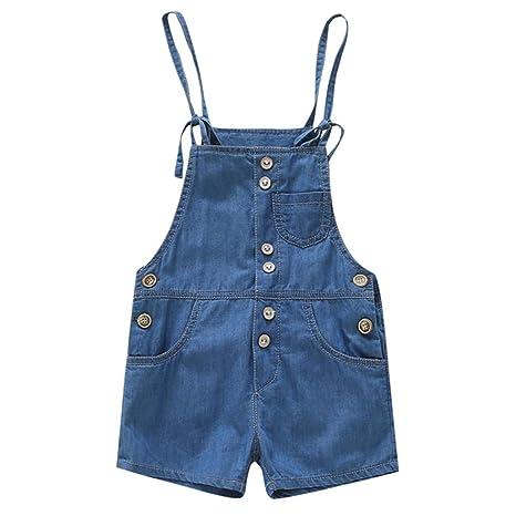 Bebé Peto con Pernera Corta - Niñas Pantalones de Peto Vaqueros Overalls Pantalón Ajustable 2-3 Años