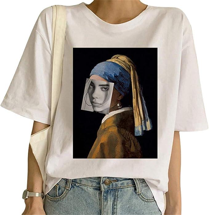 Billie Eilish Camiseta Mujer Chicas Camisetas de Manga Corta Deporte Casual Impresi/ón T-Shirt Billie Eilish de Fans Camisetas y Tops Camisa de Verano Camiseta Billie Eilish Ni/ña