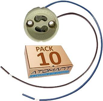 GU10 Pack 10 Portalamparas. Cable Extralargo 20cm. Material cerámica.: Amazon.es: Iluminación