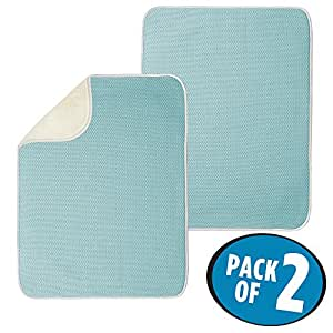 """mDesign Absorbent Kitchen Countertop Dish Drying Mat - Pack of 2, 24"""" x 18"""", Solid, Aqua Blue/Ivory"""