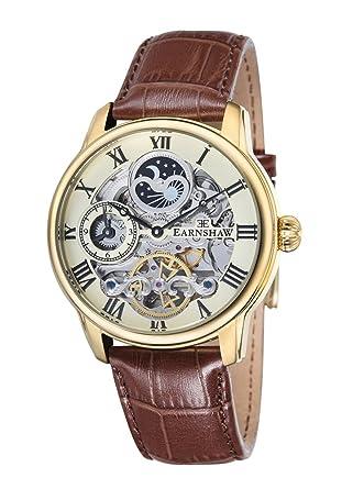 EarnShaw Longitude Reloj de Hombre automático 44mm Correa de Cuero ES-8006-06: Amazon.es: Relojes