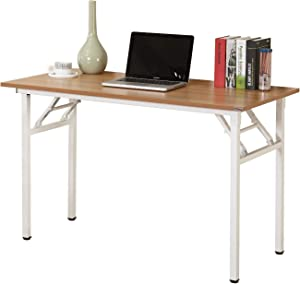 DlandHome 55 inches Folding Table Computer Desk Portable Table Activity Table Conference Table Home Office Desk, Fully Assembled Teak and White DND-ND5-140TW