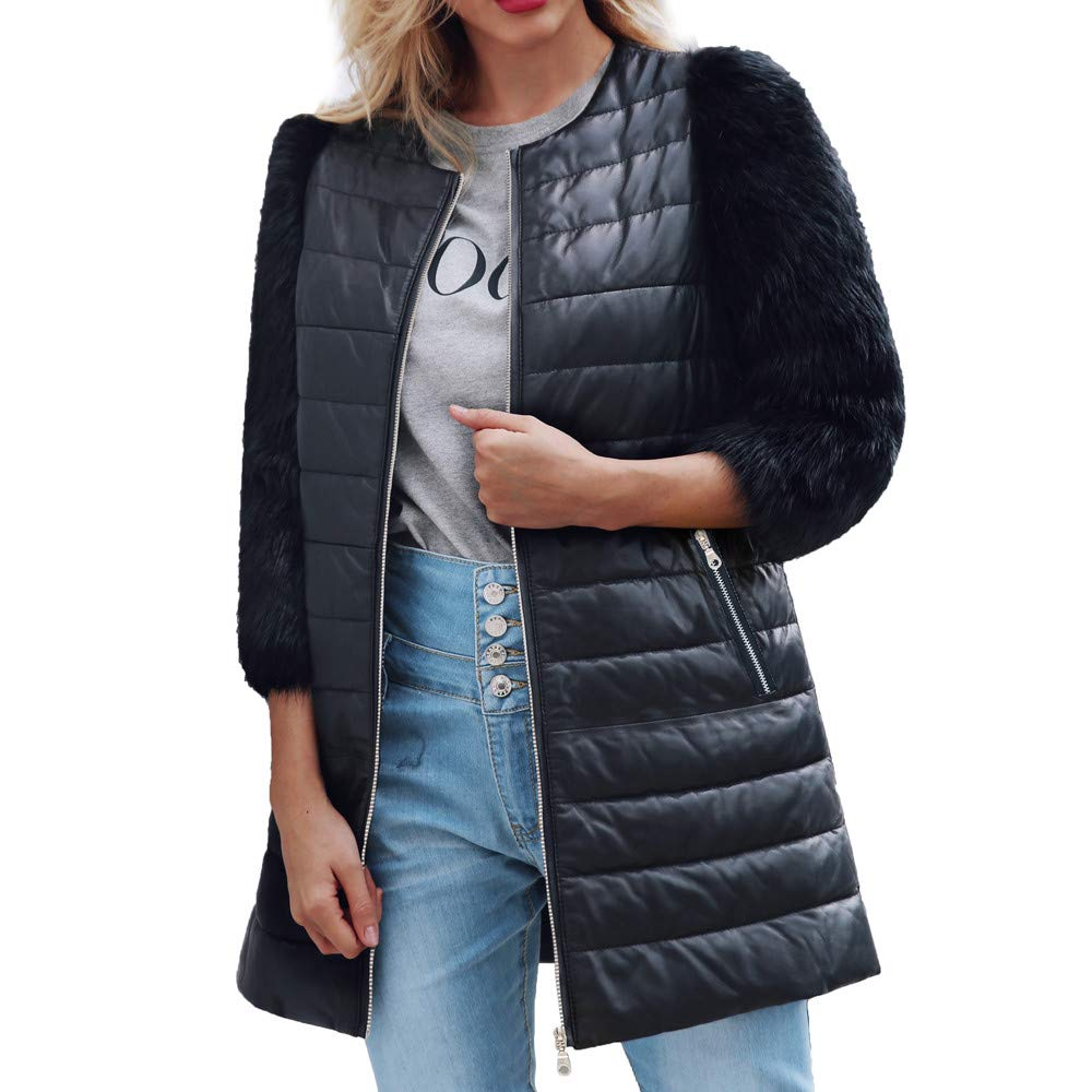 HHei_K Womens Three Quarter Sleeve Solid Artificial Wool Fur Parka Leather Patchwork Casual Zip Fly Jacket Overcoat