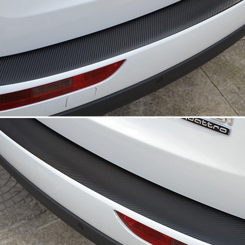 Tuqiang® Carbon Fiber Car Rear Bumper Dust-proof Scuff Cover for Peugeot 308 408 508 3008 90X8 CM Sill Pedals