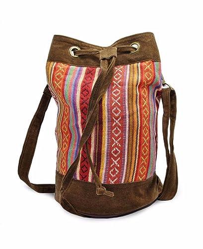 035c1370dbd7 Mato Boho Drawstring Bucket Bag Bohemian Woven Tribal Aztec Baja Pattern Crossbody  Shoulder Side Purse Suede  Handbags  Amazon.com