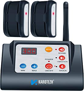 KAROTEZH 2 in 1 Electric Dog Fence Training Collar, Electric Shock Collars Pet Fencing System Rechargeable Waterproof Receiver for Small Medium Large Dogs Indoor Outdoor