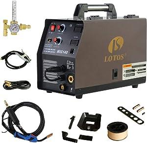 LOTOS MIG140 140 Amp MIG Wire Welder, Flux Core & Aluminum Gas Shielded Welding