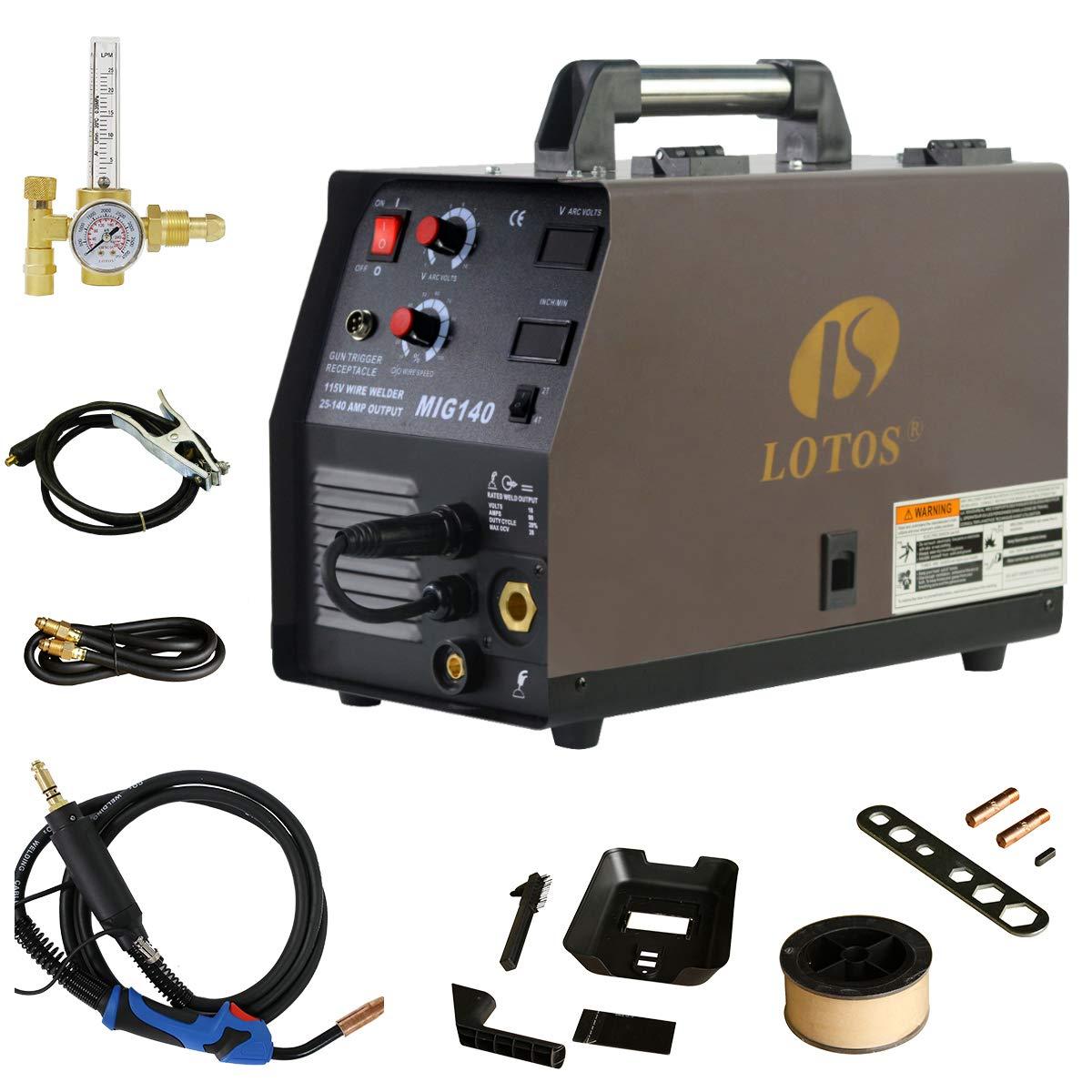 140 Amp MIG Wire Welder, Flux Core & Aluminum Gas Shielded Welding with 2T/4T Switch Argon Regulator, Metal Wire Feeder by LOTOS