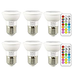 Yangcsl Dimmable LED Color Changing Light Bulbs with Remote, RGB + Daylight White, 45° Beam Angle and Memory, E26 3W Mood Ambiance Lighting (6 Pack)