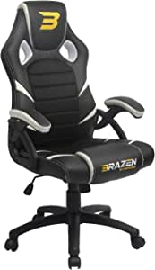 BraZen Puma White PC Gaming Chair & Office Max Support 120 KG Human Weight-Made from Faux Leather & Steel Frame-360 Degree Swivel Capability-Office Chairs with Arms, 120