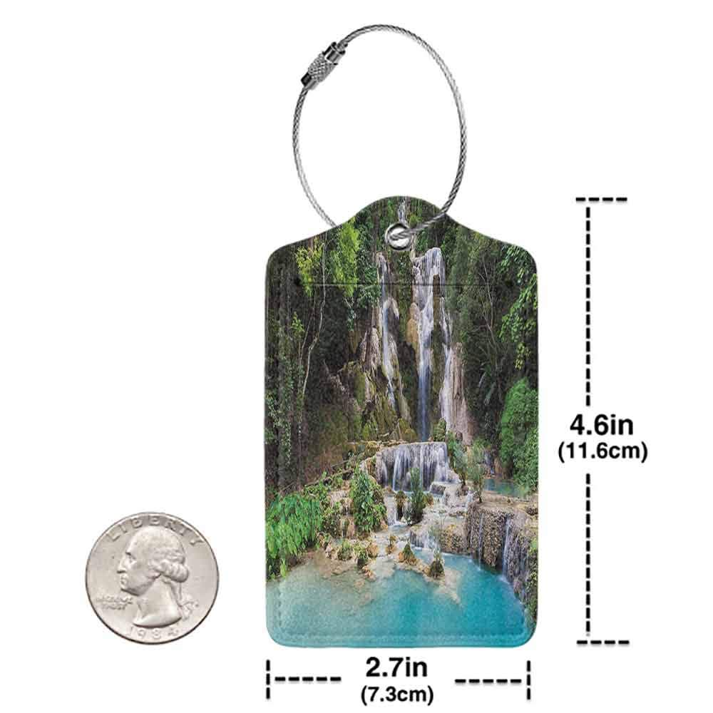 Multicolor luggage tag Waterfall Decor Waterfall in Corner of Lake in Laos Surrounded by the Vietnamese Trees Hanging on the suitcase Blue and Green W2.7 x L4.6