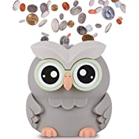 AMAGO Owl Coin Bank,Cute Piggy Bank for Boys, Girls and Adults, Digital Savings Bank as a for Kids, Coin Jar with 2 AAA Batteries (not Included)