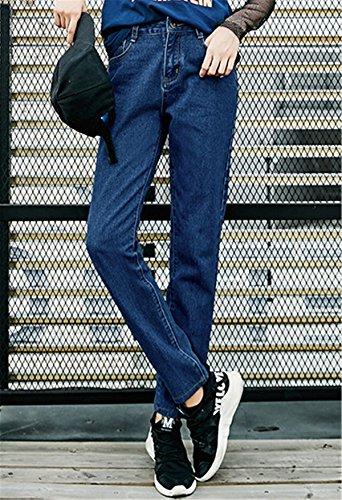 Primavera Pants Ragazzi Scuro Denim Straight Pantaloni Blu Dabag Autunno Larghi Boyfriend In Donna Jeans Pantalone 0qUaBa1w