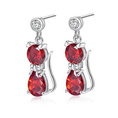 YAZILIND Stunning Silver Plated Round Cut Deep Red Cubic Zirconia CZ Flawless Dangle Drop Earrings EbgU9