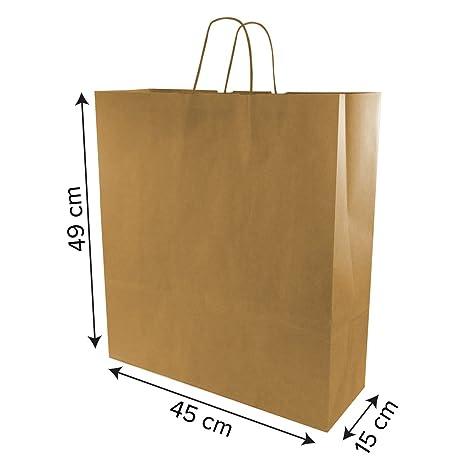 Pack 50 bolsas de papel kraft con asa retorcida. Medidas 45+ ...