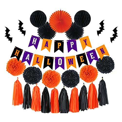 Halloween Party Decorations Set - Black & Orange Pom-Pom, 3D Wall Bats, Tissue Hanging Paper Fans Pinwheel, Tassel Paper Streamers Kit for Kids Spooky Photo Favor Backdrop, Banner Background Supply -