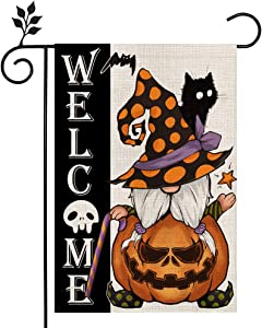 CROWNED BEAUTY Halloween Welcome Gnome Garden Flag Double Sided Vertical 12×18 Inch Jack O Lantern Pumpkin Spooky Black Cat Rustic Farmhouse Decor for Seasonal Holiday Yard CF281-12