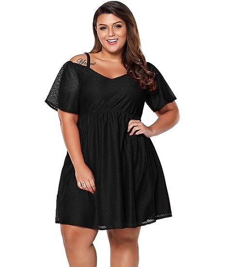 45a3174c9a0 Lalagen Womens Plus Size Chiffon Cold Shoulder Skater Cocktail Party Dress  Black XL