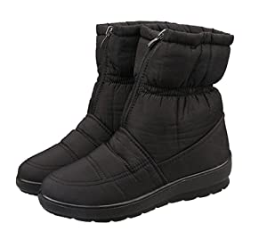 Sfnld Women's Warm Fully Fleece Lining Winter Shoes Snow Ankle Boots Black 9 B(M) US
