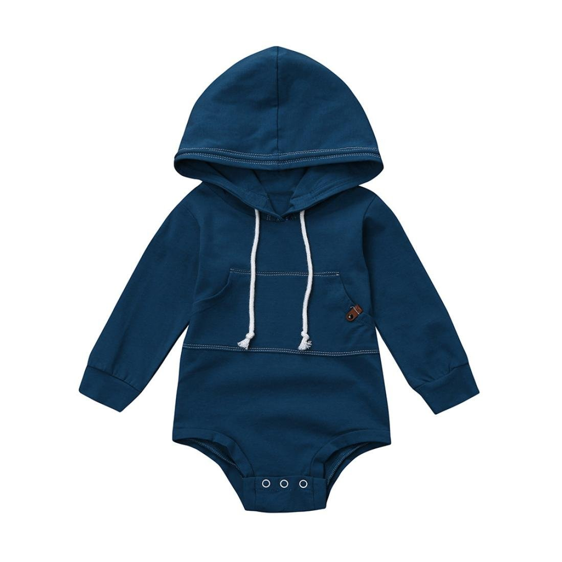 Unisex Romper, OSYARD Newborn Infant Baby Solid Hooded Romper Jumpsuit Tops Outfits Clothes for 0-18M