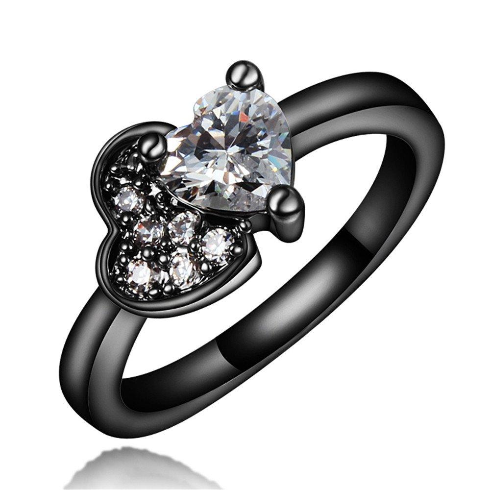 New Brand Jewelry Fashion Jewelry Black Wedding Engagement Ring Size 8