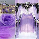 docooler Voile Stiff Fabric Roll Sheer Table Swag for Wedding Party Decoration Light Purple