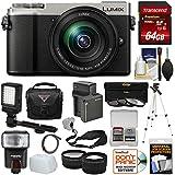 Panasonic Lumix DC-GX9 4K Wi-Fi Digital Camera & 12-60mm Lens (Silver) + 64GB Card + Battery + Case + Tripod + Flash + Video Light + Tele/Wide Lens Kit