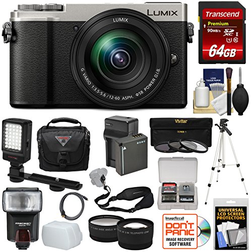 Panasonic Lumix DC-GX9 4K Wi-Fi Digital Camera & 12-60mm Lens (Silver) + 64GB Card + Battery + Case + Tripod + Flash + Video Light + Tele/Wide Lens Kit