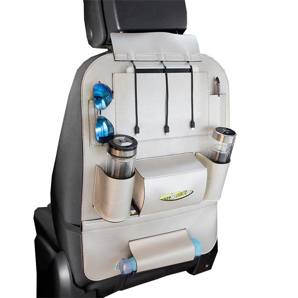 (デイゴーズ) Daygosカーシートバックオーガナイザー 防水ポリウレタンレザー製 USB携帯電話充電器 iPad Miniホルダー シートバックプロテクター 自動車での旅行にぴったりのアクセサリー シルバー DG32A03 B073VK5QTW シルバー シルバー -