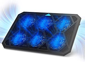 TeckNet Laptop Cooling Pad, 6-Fan Notebook Laptop Cooler Cooling Pad with LED Lights, Dual 2.0 USB Ports, Suitable for 12-19 Inch Laptops