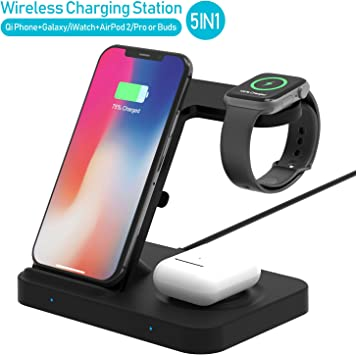 Winktech 5 in 1 Wireless Charger for Airpods, Fast Charging Dock Station for Apple Watch Series 54321, iWatch, Wireless Charge Stand for iPhone