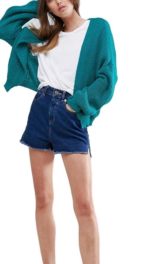 Asos EX Mujer Ex Verde mullido Canalé Cardigan Abierto Al Frente Tamaños 6-18 - Verde, 18: Amazon.es: Ropa y accesorios