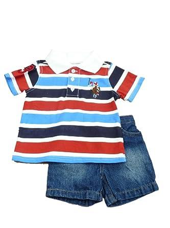 44bfb6526 Amazon.com  USPA Infant Toddler Boys Red White Blue Striped Polo ...
