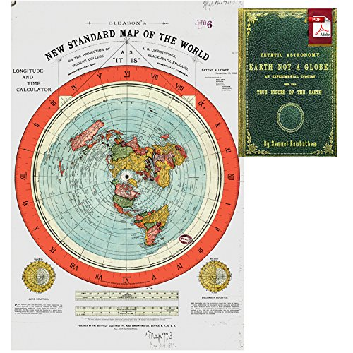 Flat map of the world amazon flat earth map gleasons new standard map of the world large 24 x 36 high quality poster offer includes free ebook zetetic astronomy by samuel gumiabroncs Images