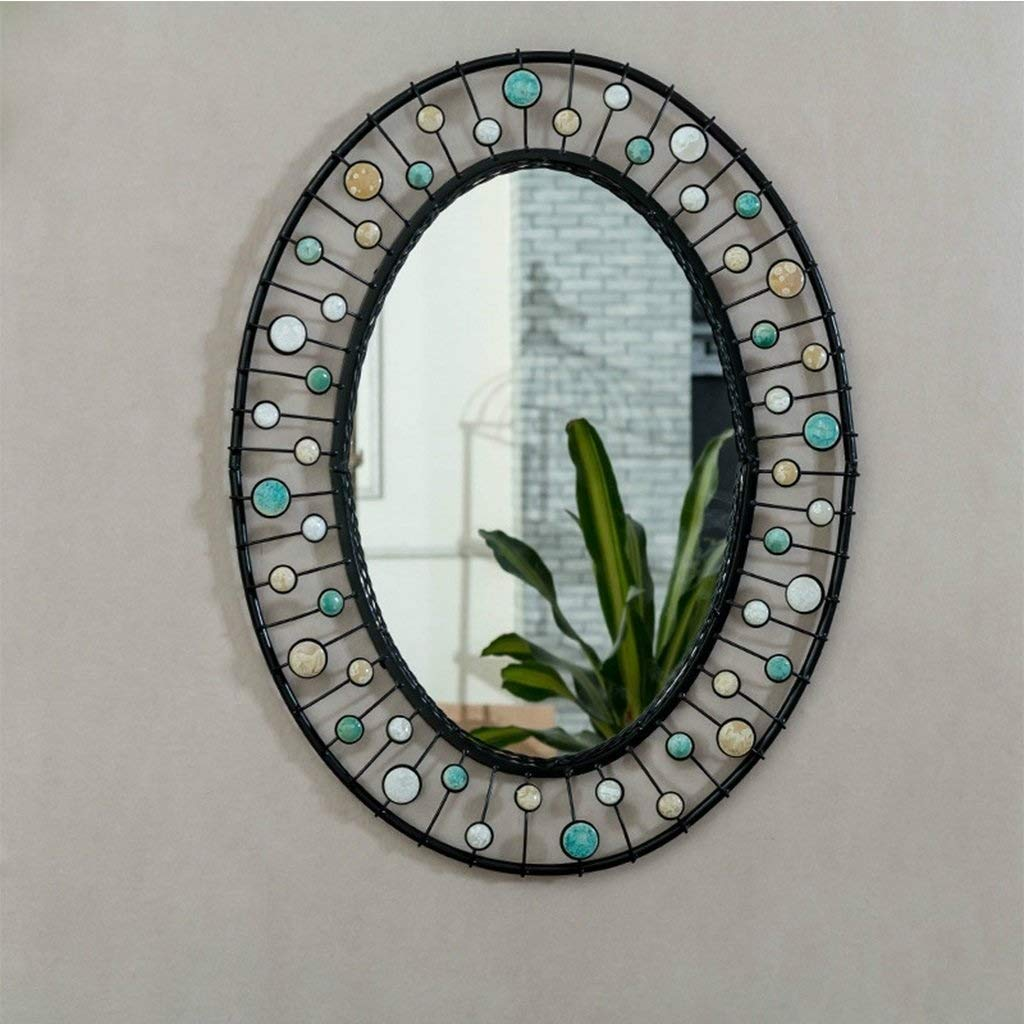 Black SMC Mirror American Home Retro Vanity Mirror Industrial Bar Wall Hanging Decorative Mirror (color   Black)